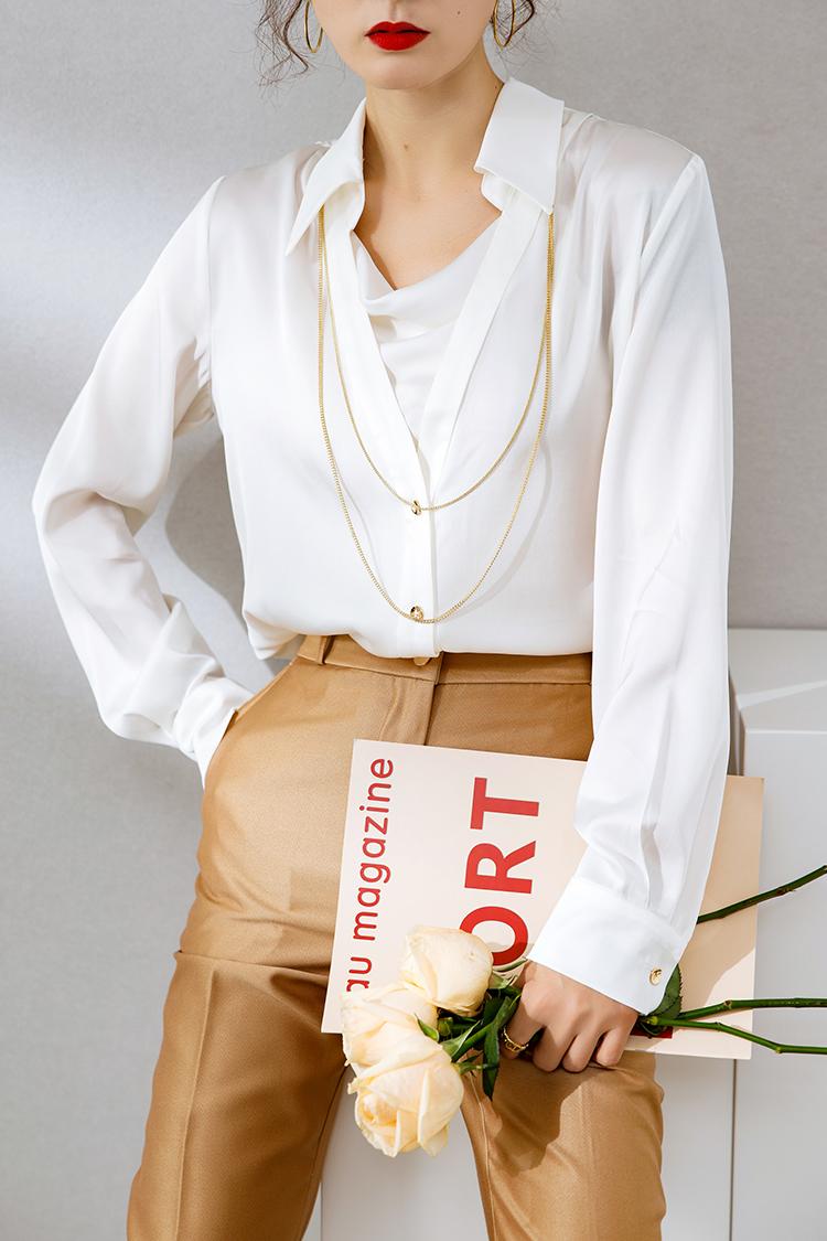 2021新款欧货真丝衬衫女长袖 014163设计感小众项链荡领气质上衣