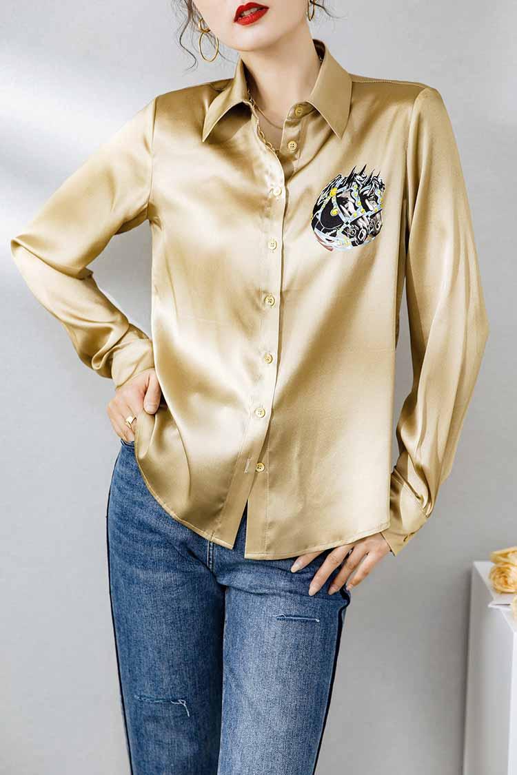 法式印花重磅真丝衬衫女长袖 014168欧货气质百搭上衣桑蚕丝衬衣