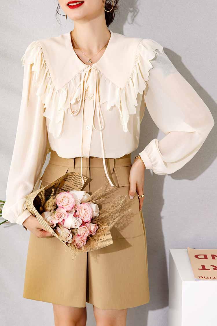 2021春新款重磅真丝衬衫女 014166系带蝴蝶结披肩领宽松复古上衣