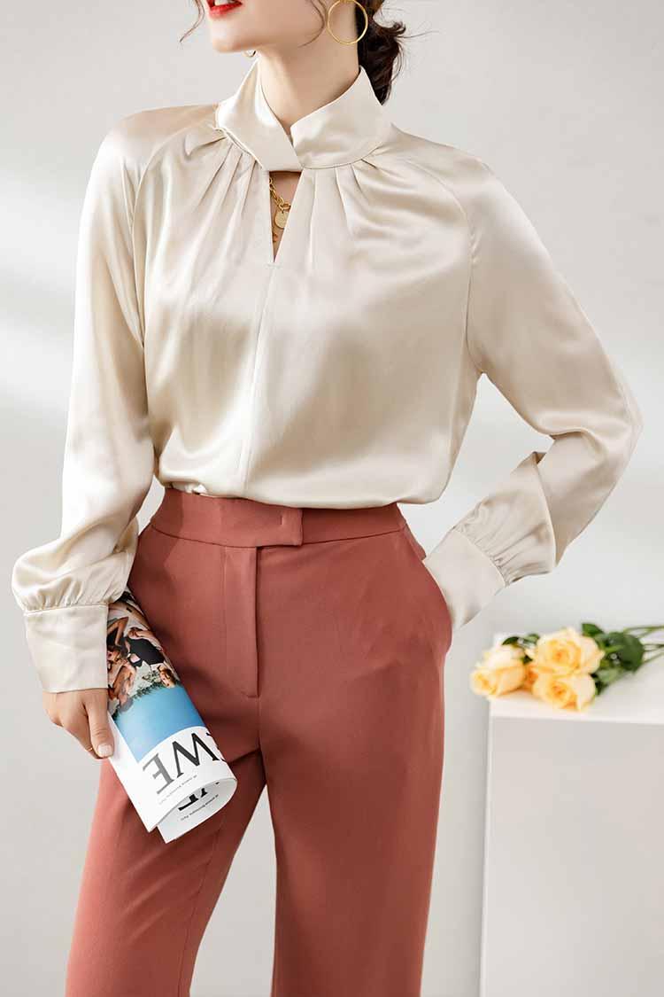 深圳高端女装欧货真丝衬衫 014201镂空交叉高领长袖纯色通勤上衣