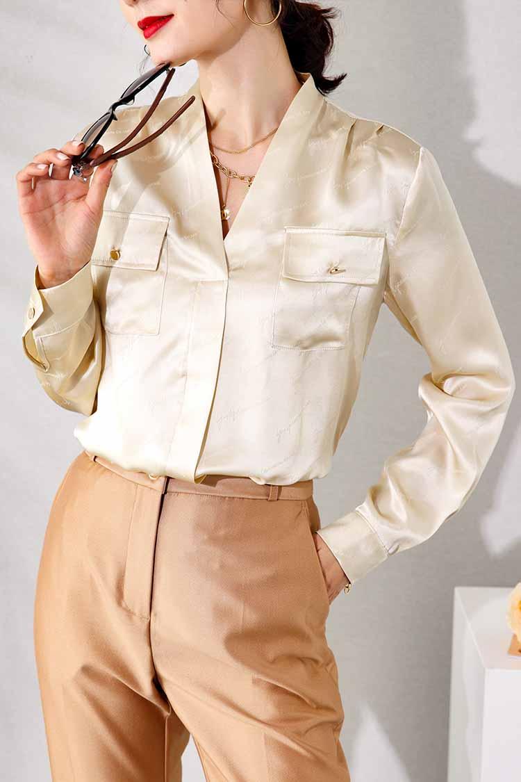 欧货简约通勤真丝衬衣2021新款 014202双口袋V领套头桑蚕丝衬衫女