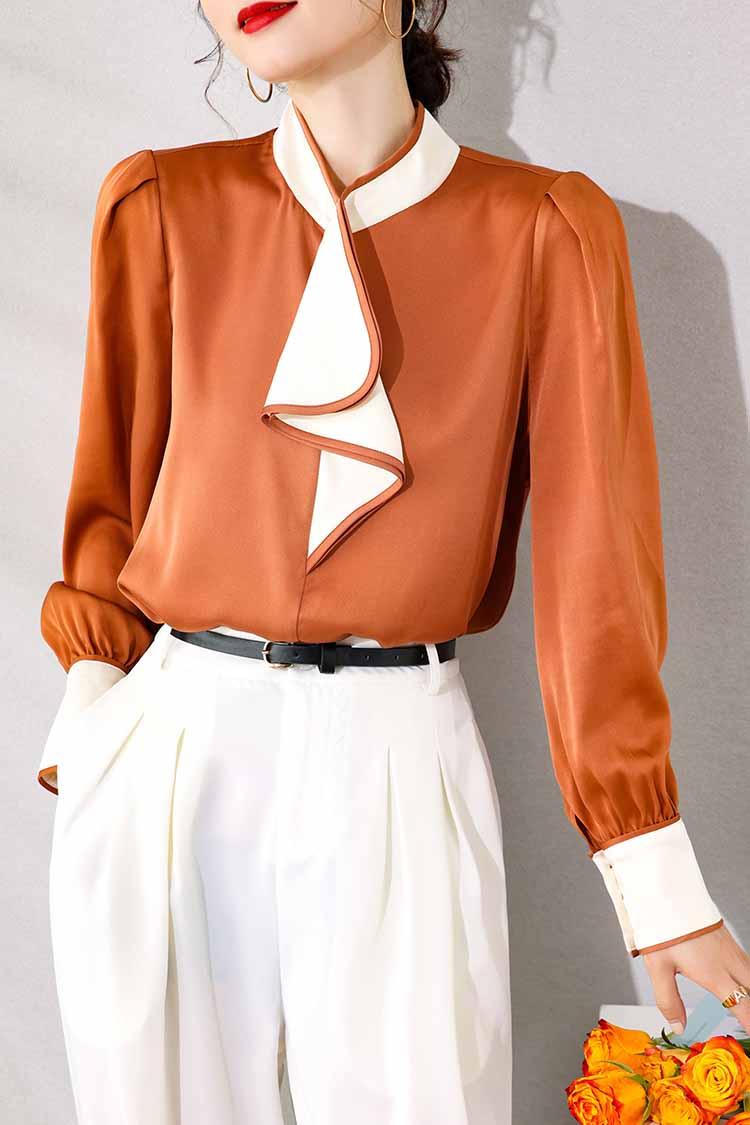 欧美高端时尚通勤真丝衬衫 014203拼色高领灯笼长袖桑蚕丝上衣女