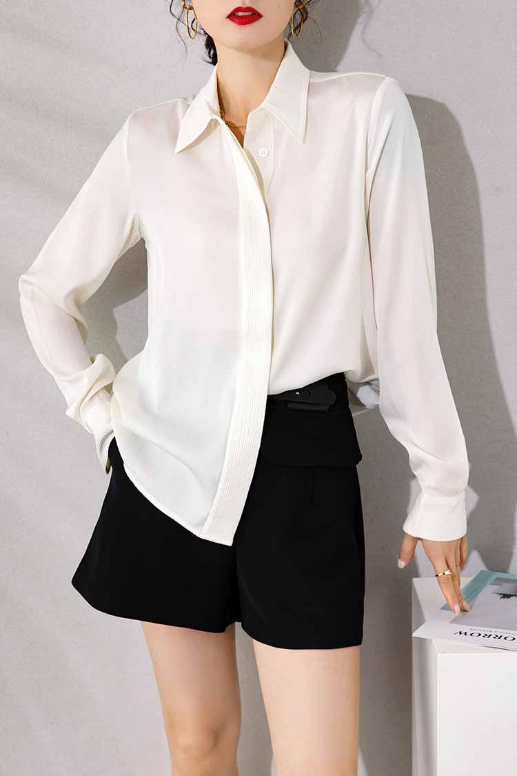 时尚简约通勤真丝衬衫女新款 034140翻领长袖纯色重磅桑蚕丝上衣