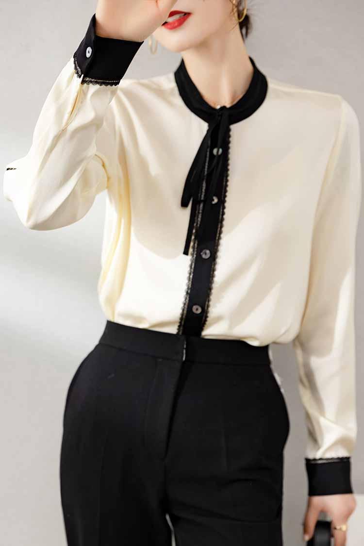 时尚减龄系带长袖真丝衬衫 034169设计感撞色洋气宽松桑蚕丝上衣