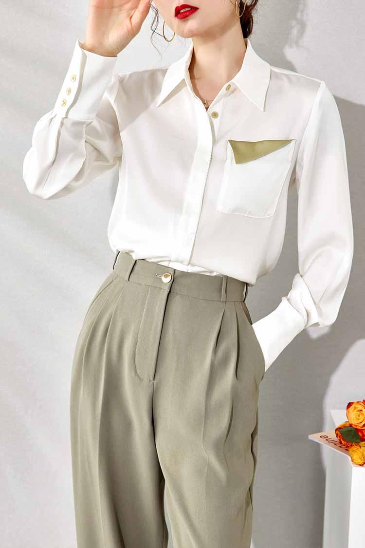 2021新款简约气质真丝衬衫女 034191翻领撞色口袋长袖宽松上衣春
