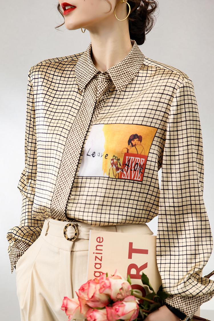 法式时尚印花真丝衬衫女 014198新款百搭长袖格子衬衣桑蚕丝上衣