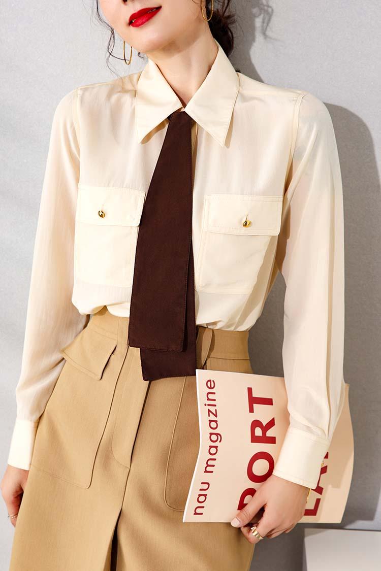 百搭双口袋桑蚕丝衬衫女长袖 034187撞色飘带翻领真丝上衣夏