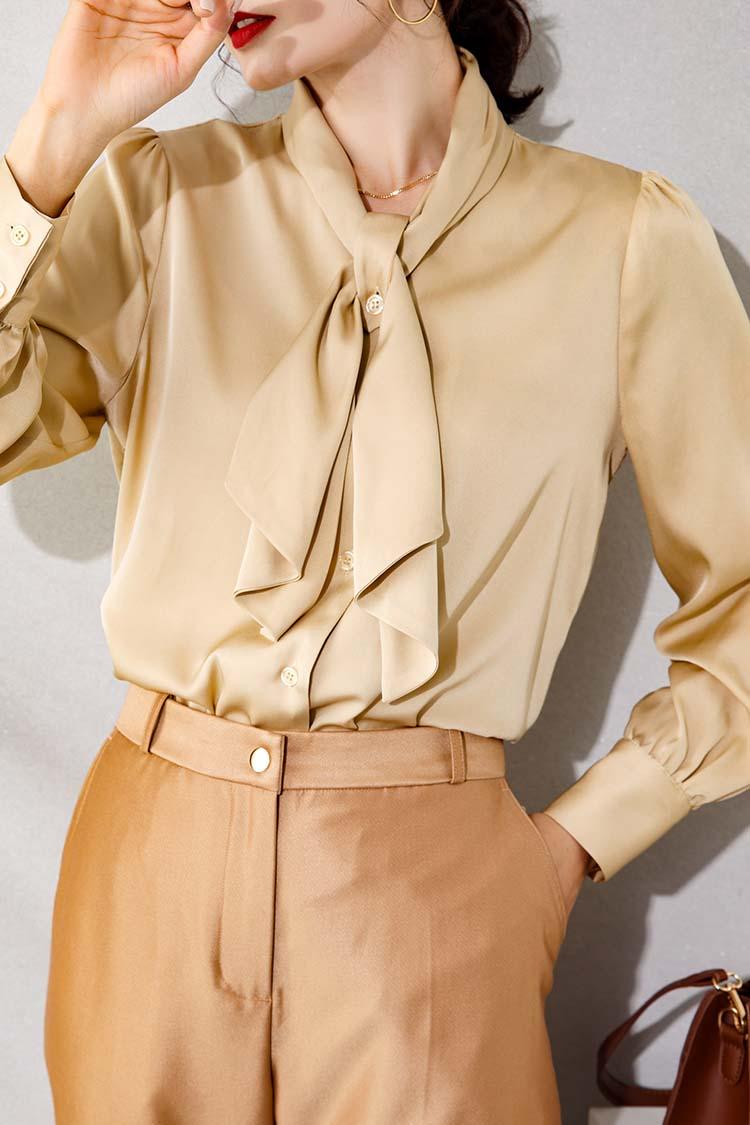 飘带蝴蝶结真丝衬衫女新款 034194时尚气质宽松长袖桑蚕丝上衣