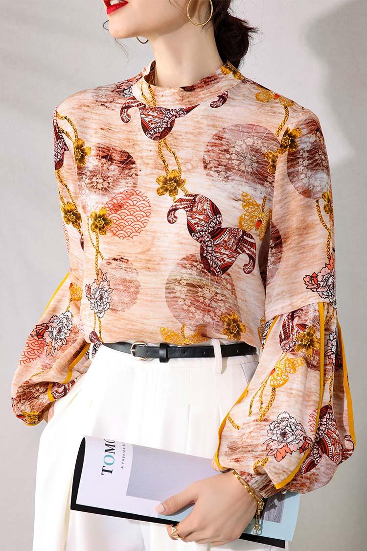 欧货复古印花真丝衬衫 034195春装新款立领灯笼袖宽松气质上衣女