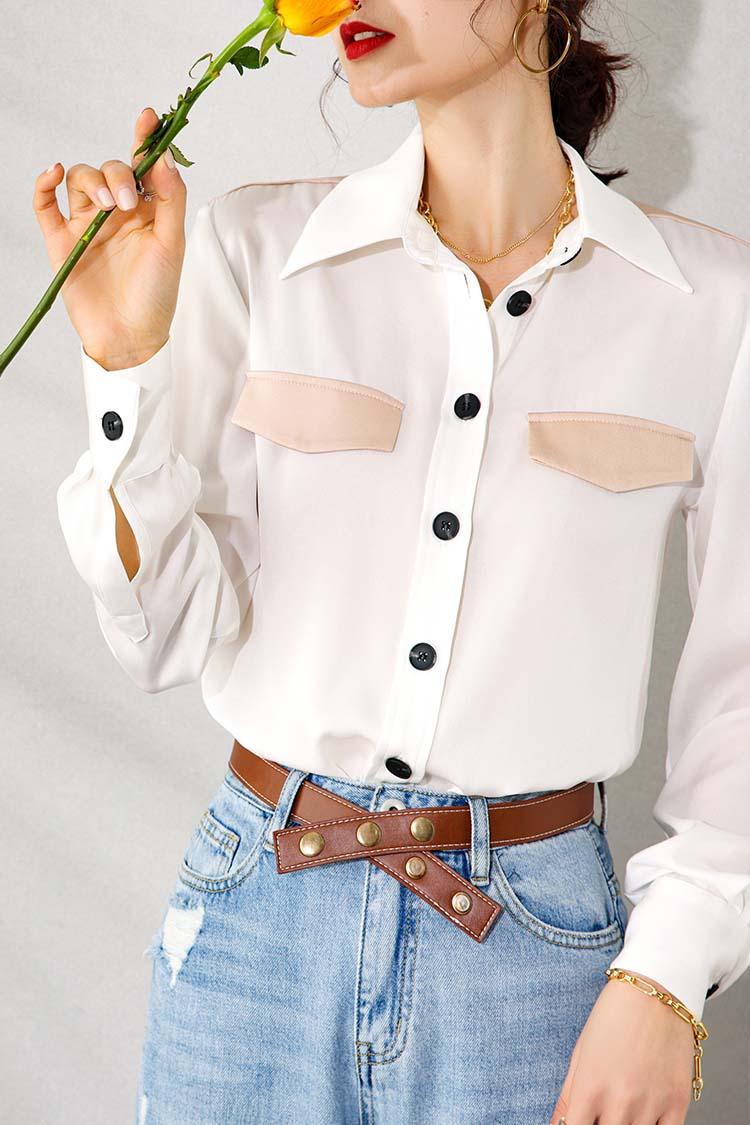 撞色拼接翻领真丝衬衫女 034198时尚气质通勤衬衣长袖桑蚕丝上衣