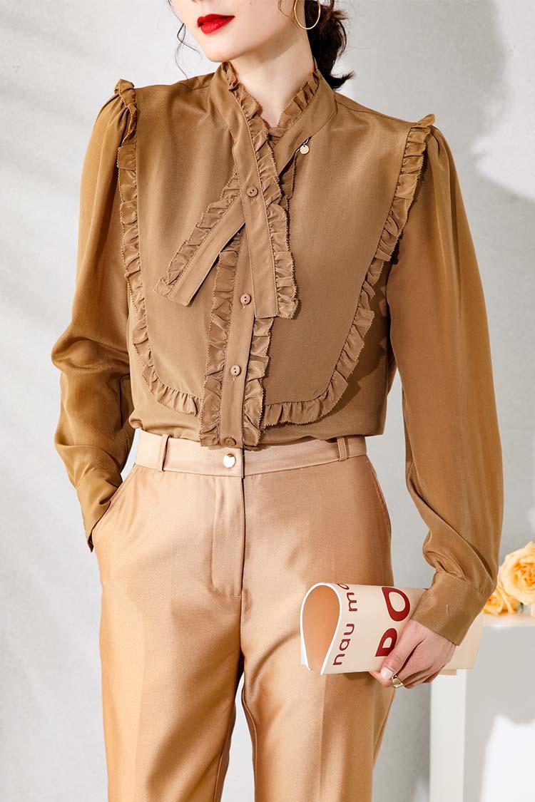 欧货高端重磅真丝衬衫女新款 034199木耳边立领飘带长袖洋气上衣