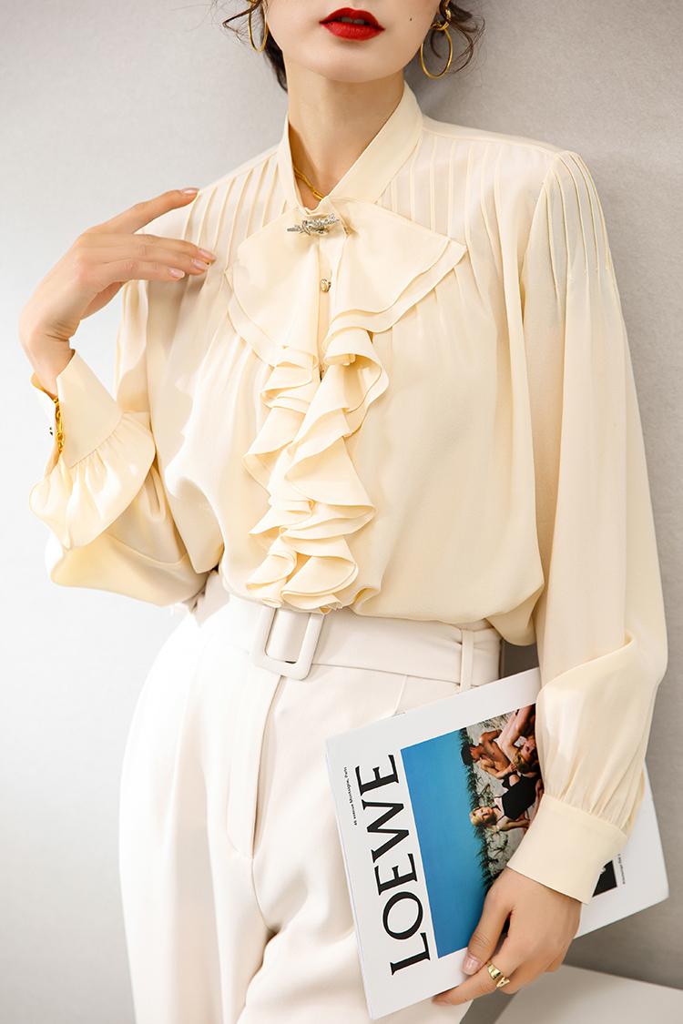 设计感重工褶条重磅真丝衬衫 114002法式欧货上衣荷叶边立领衬衣