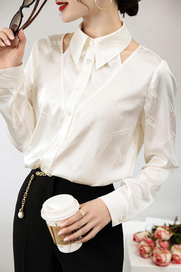 桑波缎提花真丝衬衫 114006设计感小众镂空白色衬衣气质长袖上衣