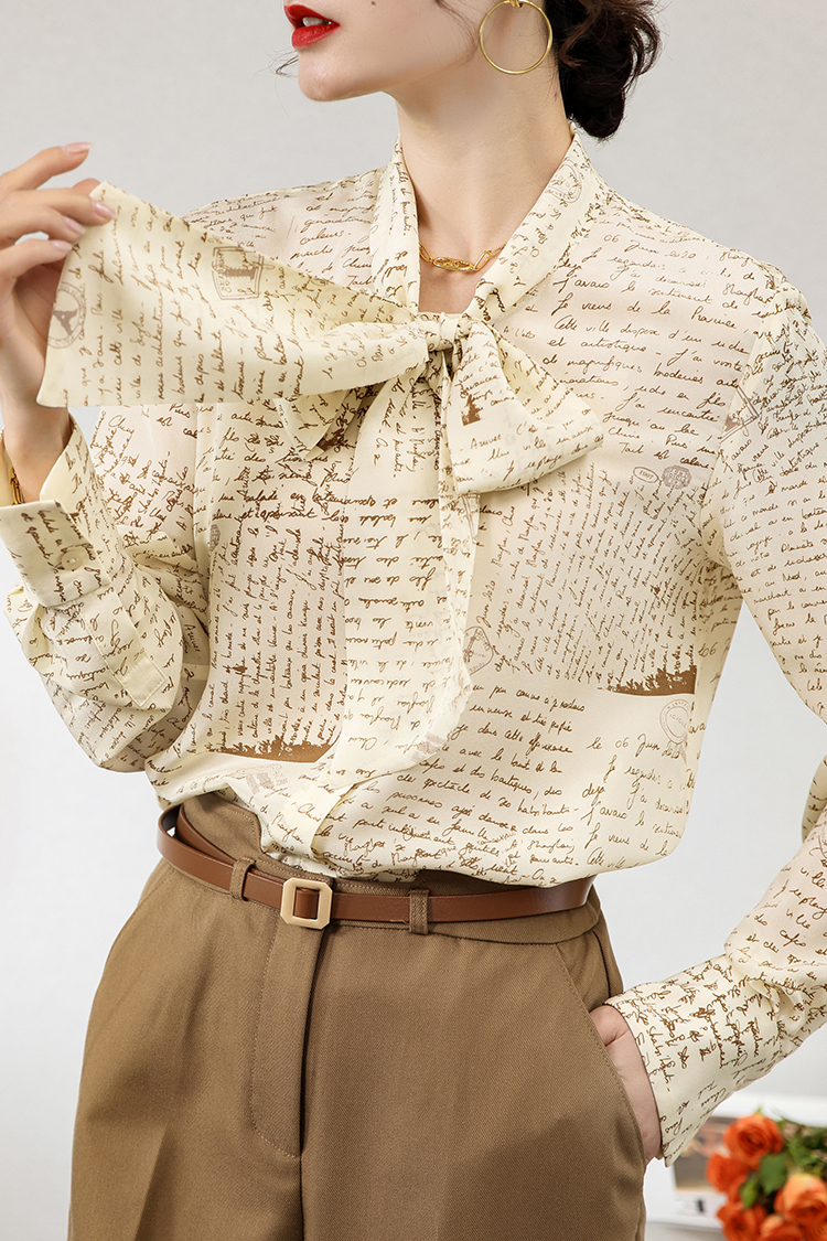 法式气质字母印花真丝衬衫女 124007时尚飘带百搭上衣ol通勤衬衣