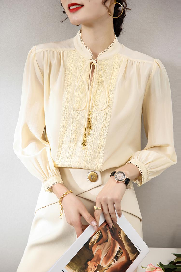 法式重工刺绣真丝衬衫女124020春夏新款系带立领九分袖桑蚕丝衬衣