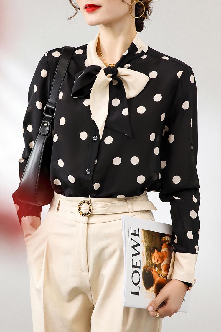 撞色飘带长袖真丝衬衫 124025设计感小众气质蝴蝶结波点印花上衣