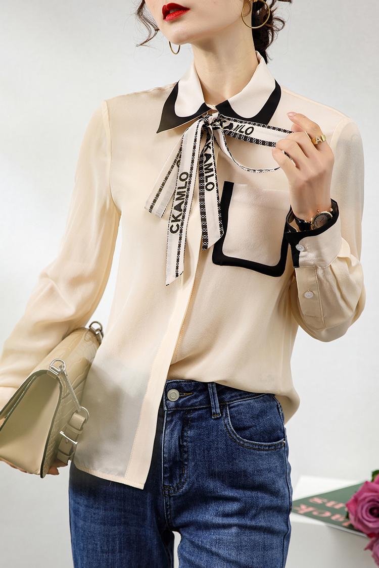 124029字母印花飘带上衣2021新款夏装欧货撞色口袋真丝衬衫女长袖